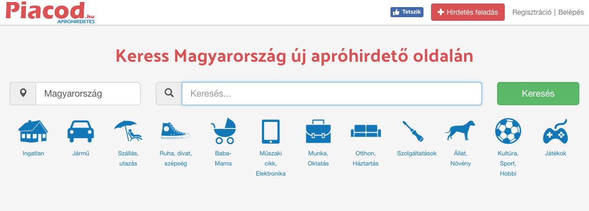Piacod.hu Hirdetésfeladás első lépés